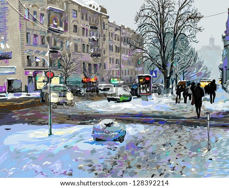 digital painting of winter kiev