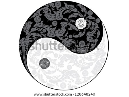 vector  yin yang with thai