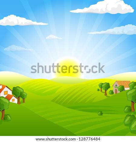 vector illustration of a rural