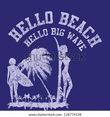 hello beach vector art