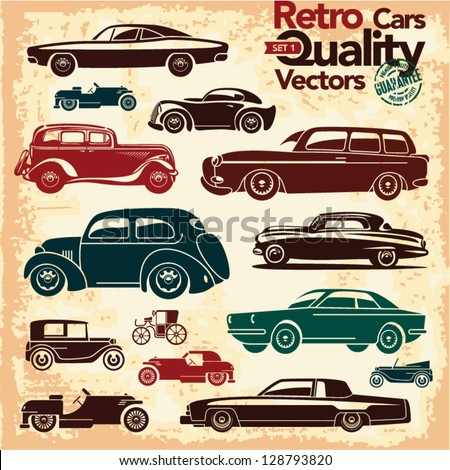 retro cars icons set 1 vintage