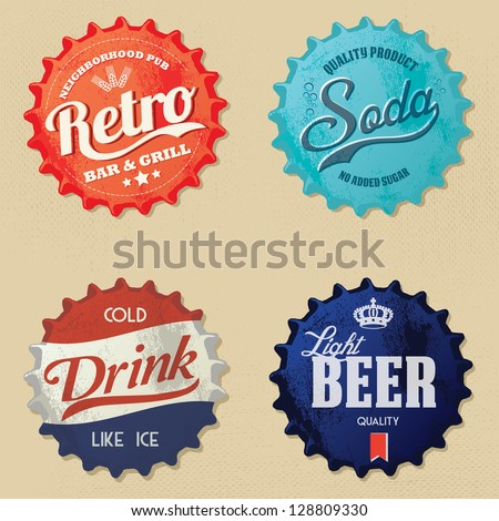 retro bottle cap design