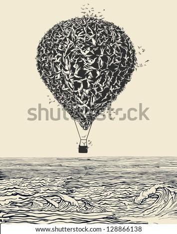 birds flock in balloon