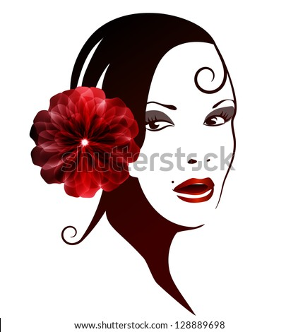 spanish woman with a flower in
