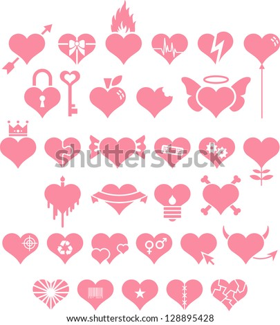 set of pink hearts with
