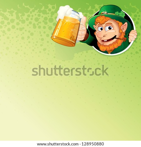 cartoon leprechaun with mug of