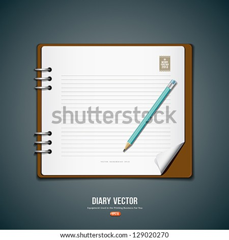 diary note book and blue pencil