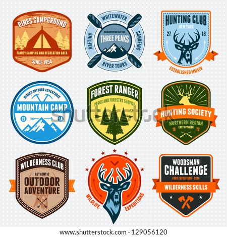 set of outdoor adventure badges