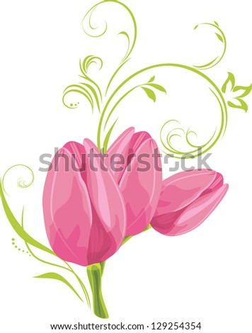 three pink tulips with