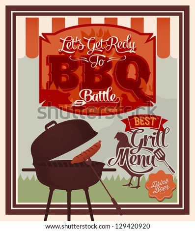 Vector download barbecue party poster with grill menu bbq battle
