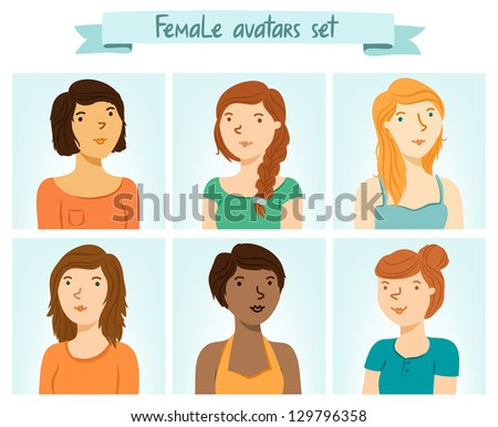set of 6 female characters