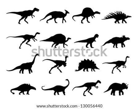 outlines sixteen dinosaur on a