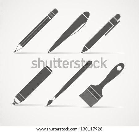 stock-vector-paint-and-writing-tools-collection