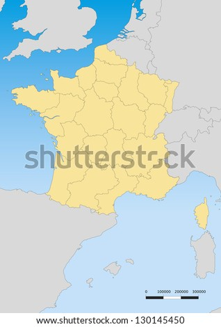 vector map of france with