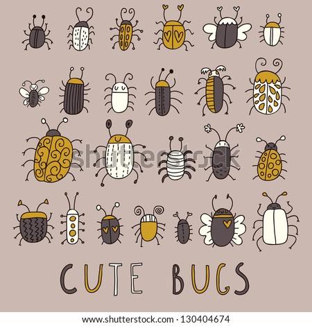 cute bugs            vector set