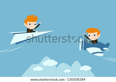 businessman flying with private