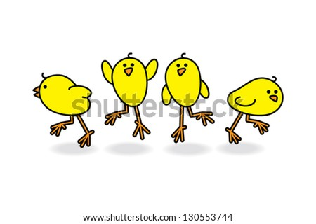 four chicks scattering in a
