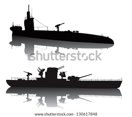 ww2 submarine and military ship