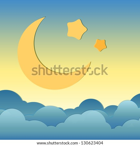 cartoon of moonand star over