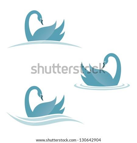 swan symbols   vector