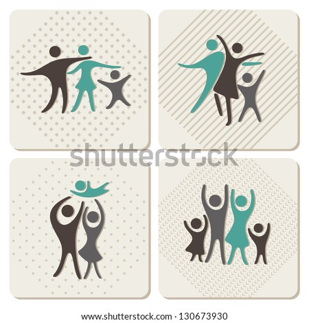 happy family icons set in