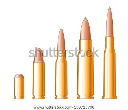 set of gun bullets isolated on