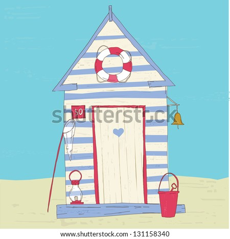 colorful beach hut vector