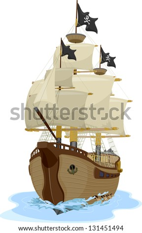 illustration of a pirate ship