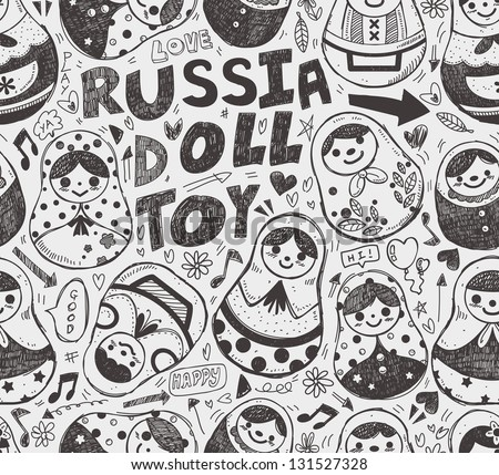 seamless doodle russian doll