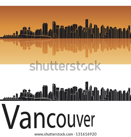 vancouver skyline in orange
