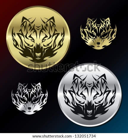 wolf medallions   vector