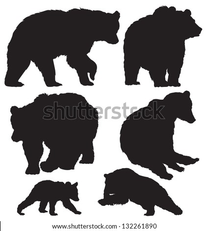 silhouettes of the bears vector