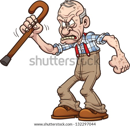 grumpy old man vector clip art