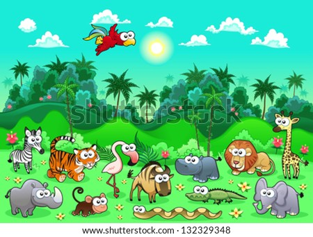 jungle animals funny cartoon