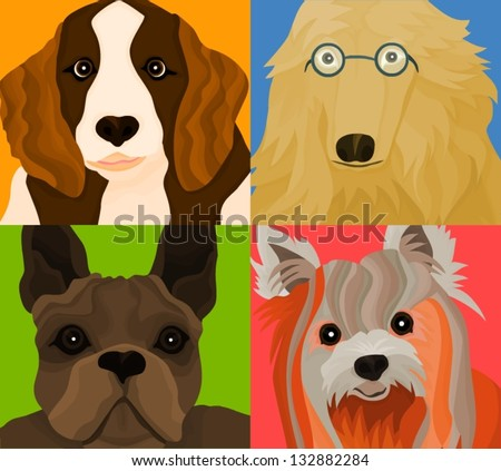 picture of a four dogs