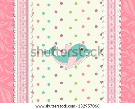 baby card with dolphin toy