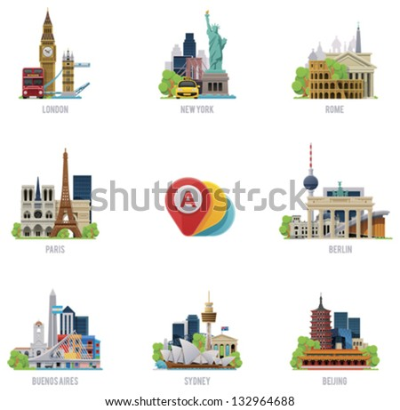 vector travel destinations icon