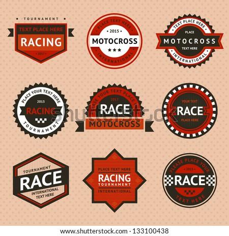 racing badges  vintage style