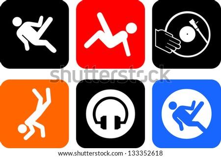set of vector breakdancer icon