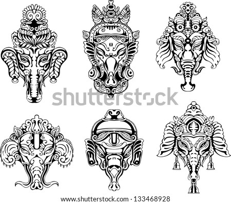 symmetric ganesha masks set of