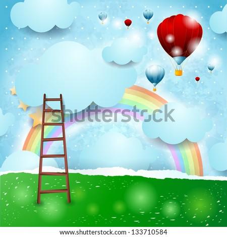 fantasy background with rainbow