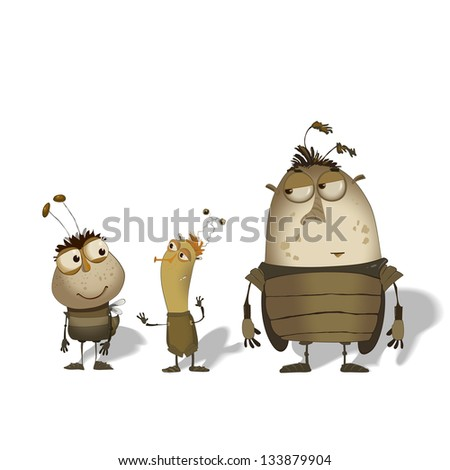 set of  cute funny cartoon bugs