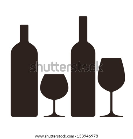 bottles and glasses of alcohol