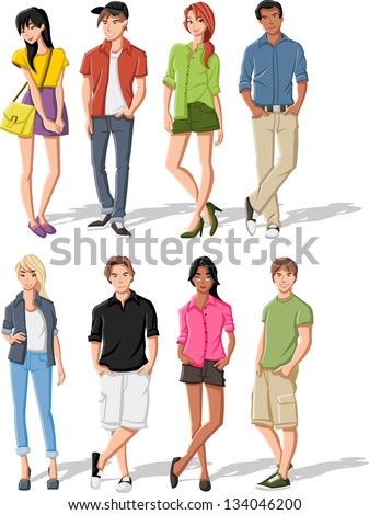 group of fashion cartoon young