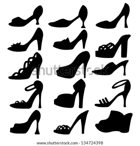 set icon women shoes isolated