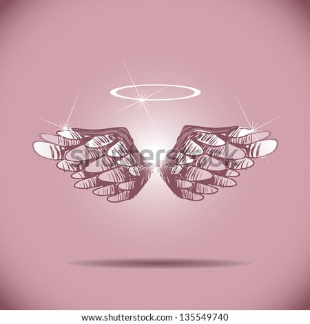 hand drawn wings eps 8 vector