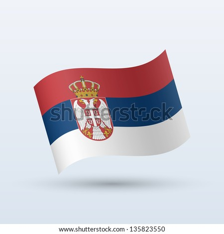 serbia flag waving form on gray