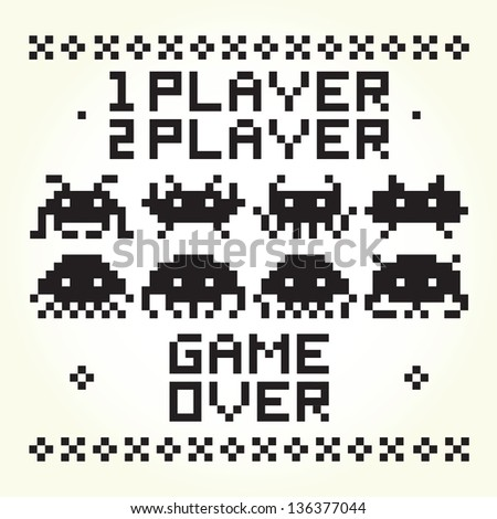 space invaders vector set