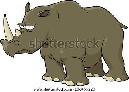rhinoceros on a white