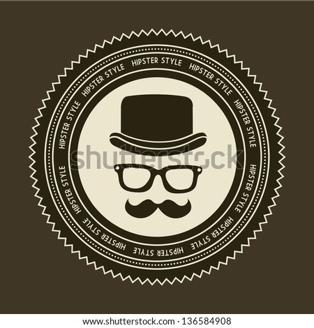 hipster label over brown